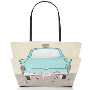 kate spade Bags - Kate Spade Just Married Cream & Tiffany Blue Tote